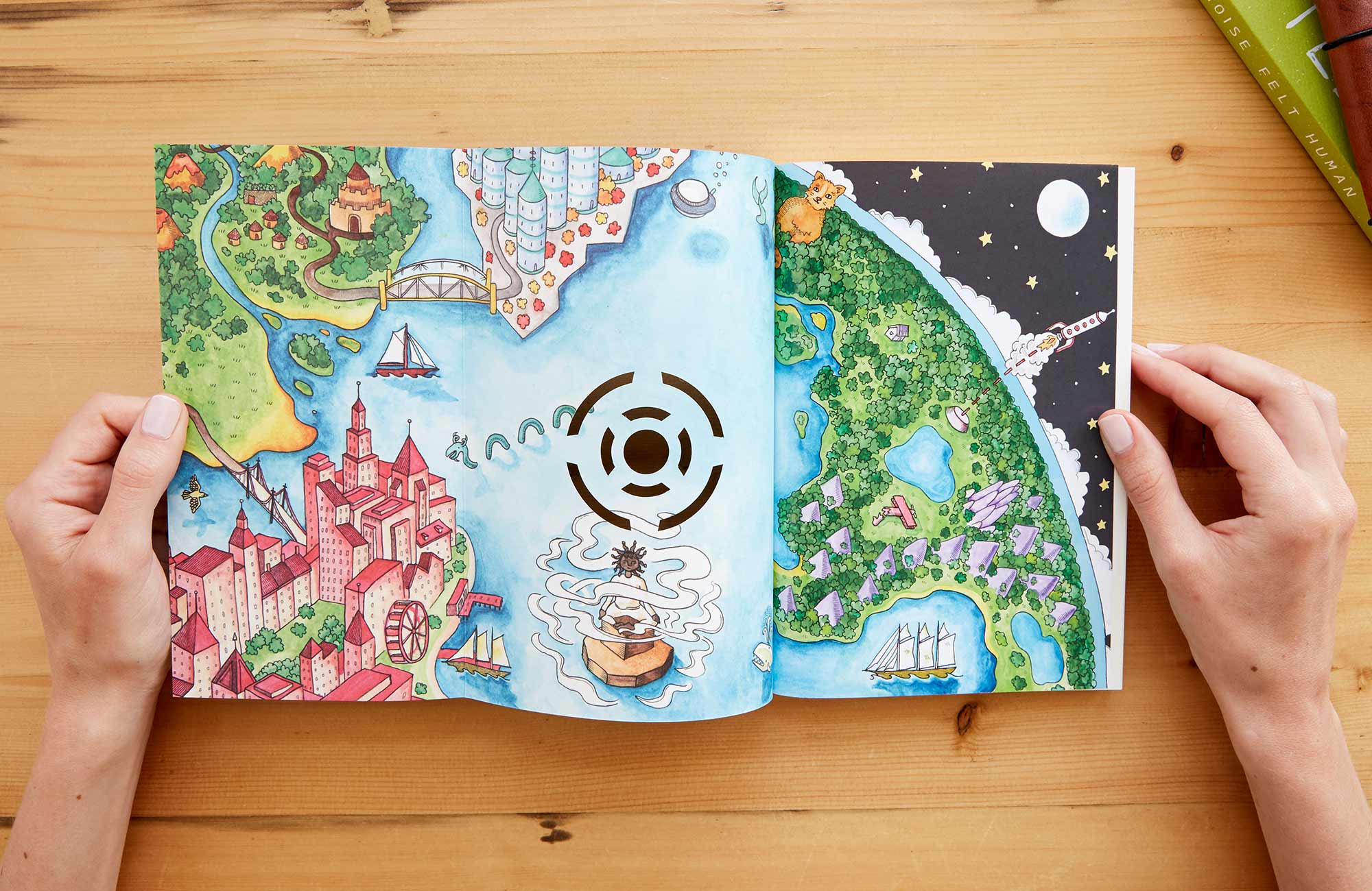 Inside front cover unfolded to show a bright, imagination-filled map