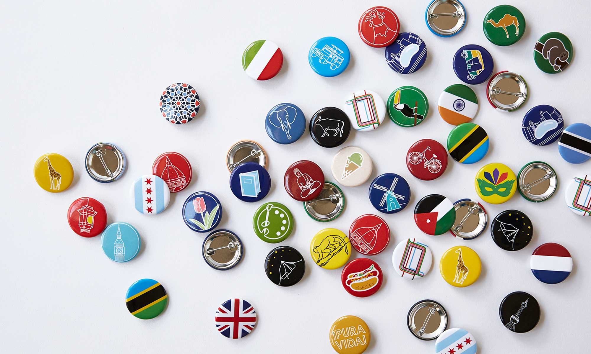 Illustrated buttons viewed from above